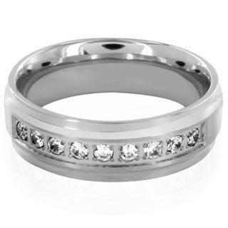 Titanium Cubic Zirconia Brushed and Polished Ring