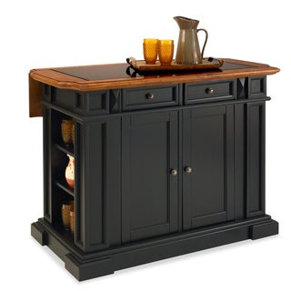 Black and Distressed Oak Deluxe Traditions Kitchen Island