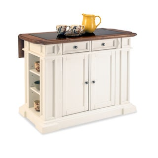 White and Distressed Oak Deluxe Traditions Kitchen Island
