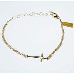 Horizontal Cross on 14-karat Gold-filled Double-chain Bracelet