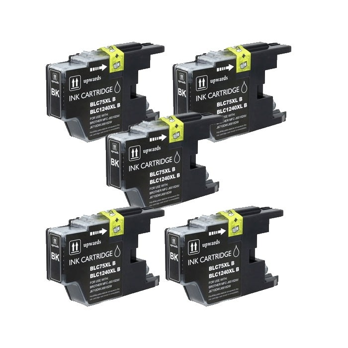 Brother LC75 Compatible Black Ink Cartrdige (Pack of 5)