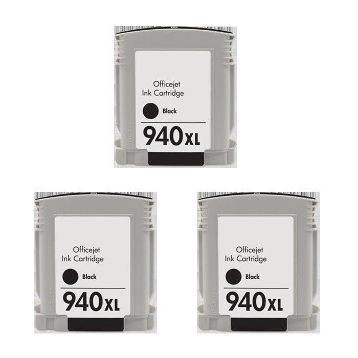Hewlett Packard 940XL Black Ink Cartridges (Pack of 3) (Remanufactured)