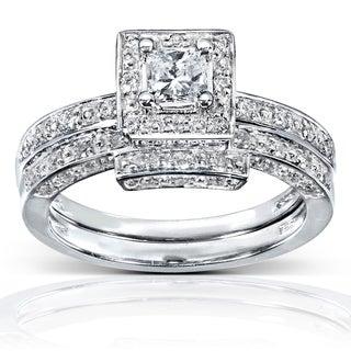 Annello 14k White Gold 5/8ct TDW Diamond Bridal Ring Set (H-I, I1-I2)