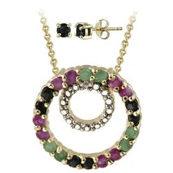 Glitzy Rocks Gold over Silver Multi-gemstone and Diamond Jewelry Set
