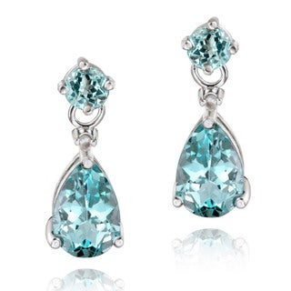 Glitzy Rocks Gemstone and Diamond Accent Teardrop Earrings