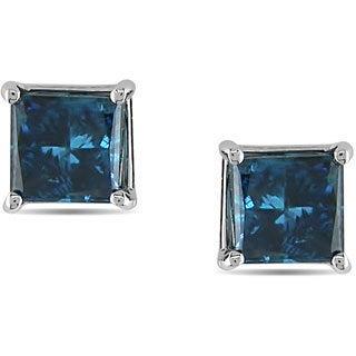 Haylee Jewels 14k White Gold Princess Blue Diamond Stud Earrings