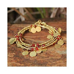 Gold Overlay 'Orange Suns' Wrap Bracelet (Thailand)