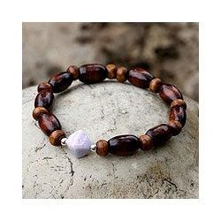 Sterling Silver 'Maya Creator' Pinewood and Jade Bracelet (Guatemala)