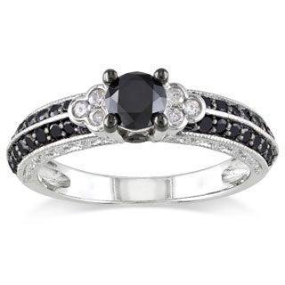 Miadora Milgrain-finished Sterling Silver 1ct TDW Black and White Diamond Ring (H-I, I2-I3)