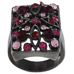 City by City City Style Antique Silvertone Pink Crystal Pave Rectangle Ring
