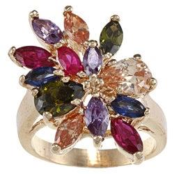 City by City High-polish Base Metal Gold Multi-jewel Cubic Zirconia Cut Ring