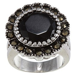 City by City Marcasite and Round Jet-stone Crystal High-polish Silvertone Ring