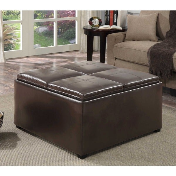 Brown Faux Leather Ottoman Brown Faux Leather Storage