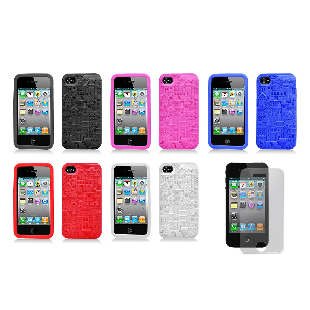 Apple iPhone 4/4S Castle Design Silicone Skin Case and Screen Protector