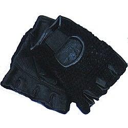 Defender Black Large Leather Fingerless Gloves with Velcro Strap