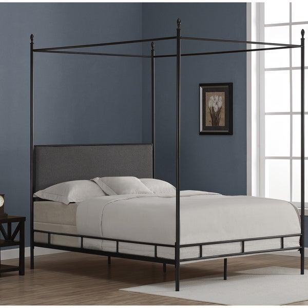Lauren Grey Upholstered Queen Size Canopy Bed Overstock
