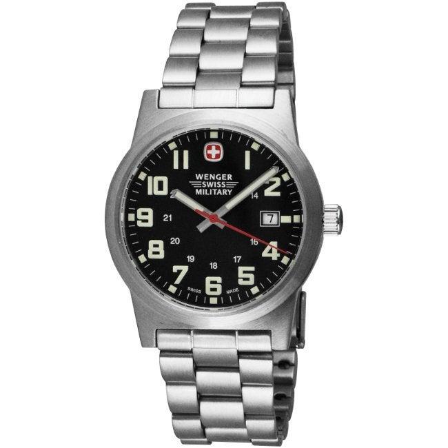 Wenger Men's Classic Field Black Dial Stainless Steel Bracelet Watch
