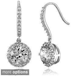 Collette Z Sterling Silver Round-cut Cubic Zirconia Dangle Hook Earrings