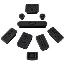 INSTEN Black Anti-Dust Soft Silicone Plug Cap for Apple MacBook Pro (Set of 9)