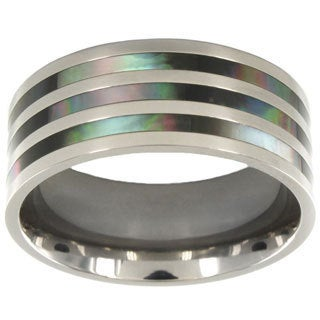 Titanium Polished Abalone Inlay Ring