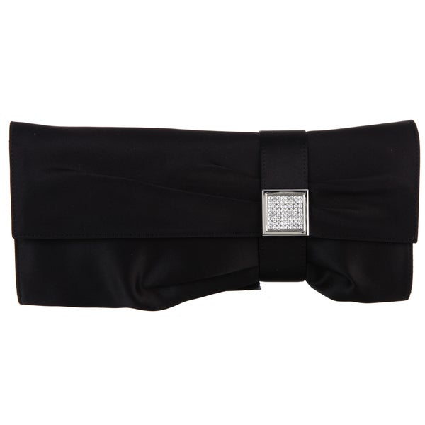Carlo Fellini 'Selena' Black Satin Evening Bag