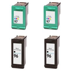 Hewlett Packard HP 96/97 Black/ Color Ink Cartridge (Pack of 4) (Remanufactured)