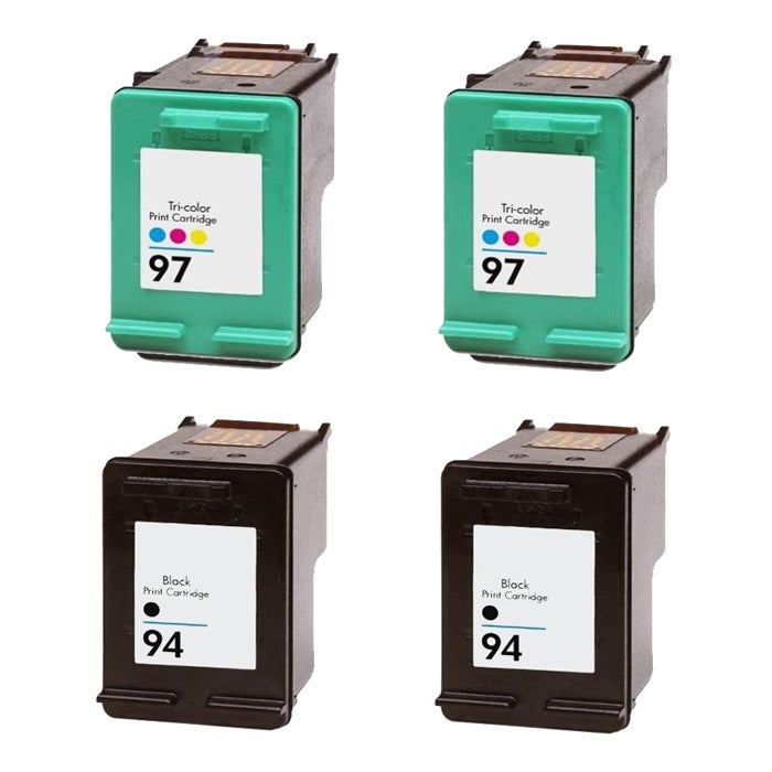 Hewlett Packard HP 94/97 Black/Color Ink Cartridge (Pack of 4) (Remanufactured)