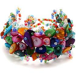 Rainbow Mother of Pearl Bead Weave Bracelet