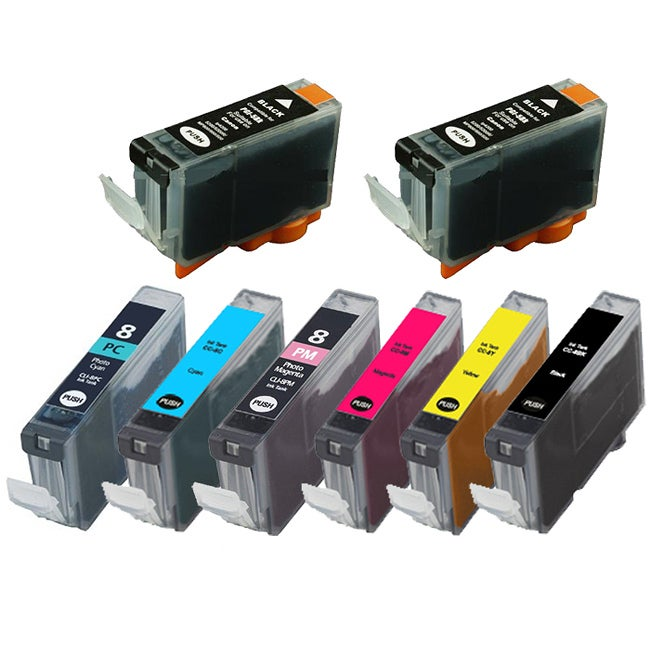 Canon PGi-5 / CLI-8 Compatible Black/Colors Ink Cartridges (Pack of 8)