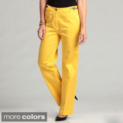 Appraisal Stylish Women's Pants in Vibrant Color with Silver Chain Embellishment