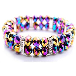 Rainbow Vitrail Crystal and Rhinestone Stretch Bracelet