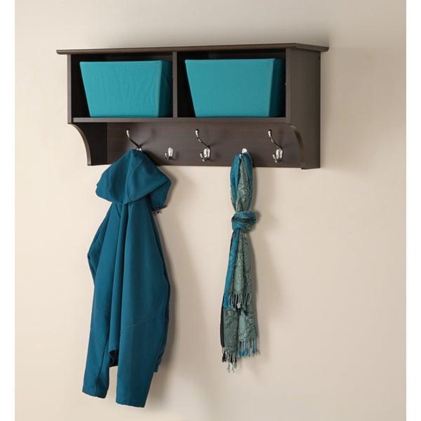Everett Espresso 36 inches Wide Hanging Entryway Shelf