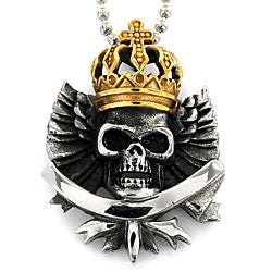 Two-tone Stainless Steel Crowned Marduke Skull Necklace