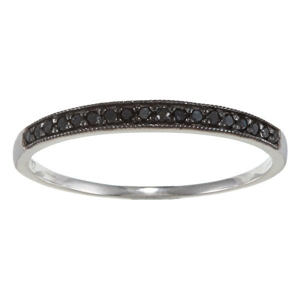 10k White Gold 1/6ct TDW Milgrain Black Diamond Band (G-H, I1-I2)