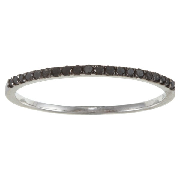 10k White Gold 1/8ct TDW Thin Black Diamond Band (G-H, I1-I2)