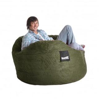 Olive Green 5-foot Microfiber and Foam Bean Bag