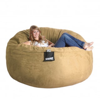 Six-foot Light Brown Microfiber and Foam Bean Bag