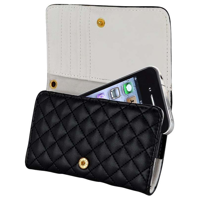 INSTEN Black Leather Cell Phone Wallet Phone Case Cover