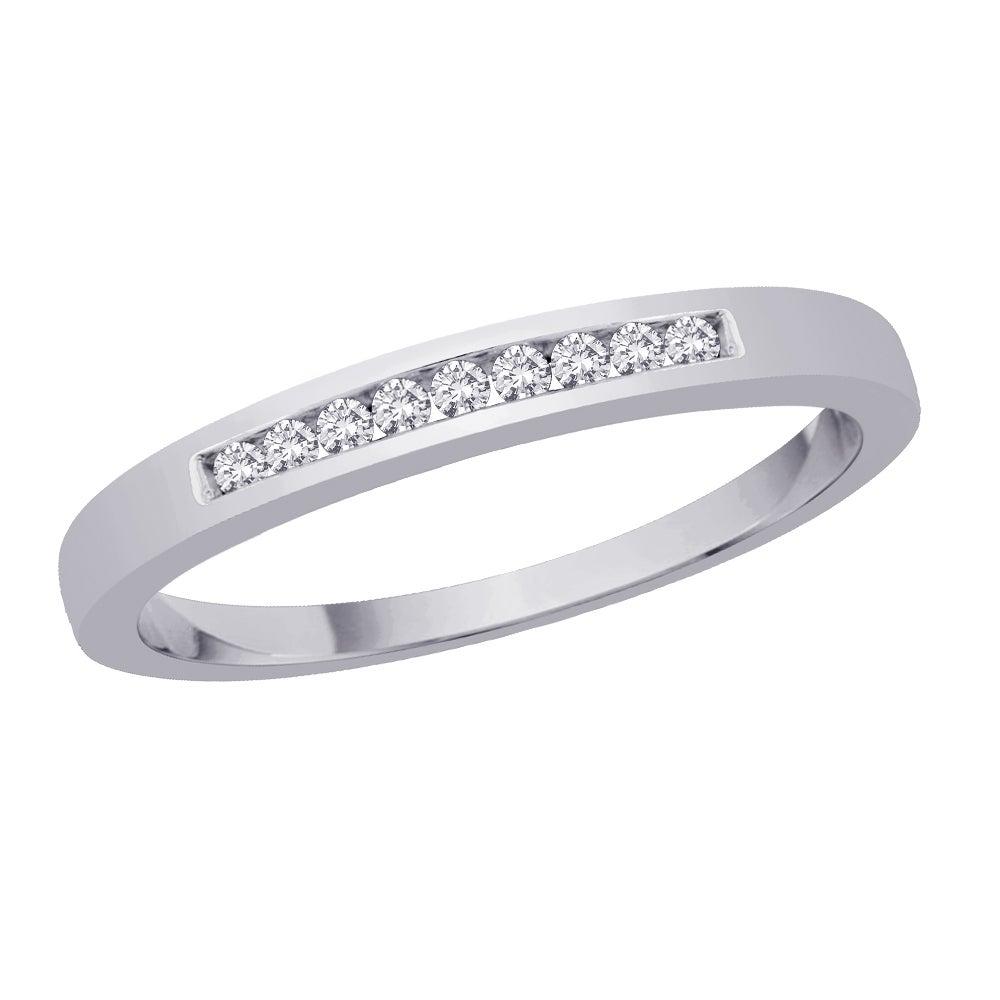 10k White Gold 1/10ct TDW Diamond Wedding Band (J-K, I2-I3)
