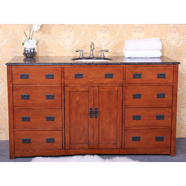 Granite top 60 inch single sink bathroom vanity overstock shopping great deals on bathroom 60 in bathroom vanities with single sink