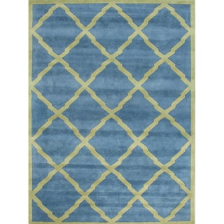 Alliyah Handmade Aqua New Zealand Blend Wool Rug (9' x 12')