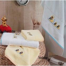 Lucia Minelli Kid's Yellow/White Embroidered Duck Turkish Cotton 4-pieceTowel Set