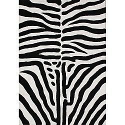 Hand-tufted Safari Black Wool Rug (5' x 8')