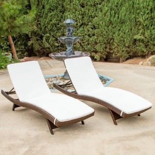 Christopher Knight Home Outdoor Brown Wicker Adjustable Chaise Lounge with Cushions (Set of 2)