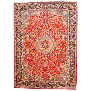 Persian Hand-knotted Isfahan Red/ Navy Wool Rug (8'10 x 12'3)