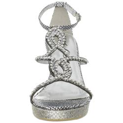 Celeste Women's 'Marisa-03' Silver Jeweled Wedge Sandals