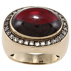 14k Gold Garnet and 3/5ct TDW Diamond Estate Ring (I-J, SI1-SI2)