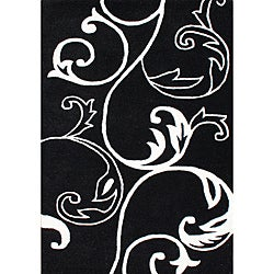 Hand-tufted Floridly Black Wool Area Rug (8' x 10')