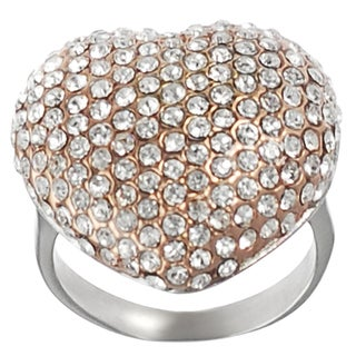 Journee Collection Coppertone Steel Cubic Zirconia Heart Ring