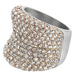 Journee Collection Coppertone Steel Cubic Zirconia Slope Ring